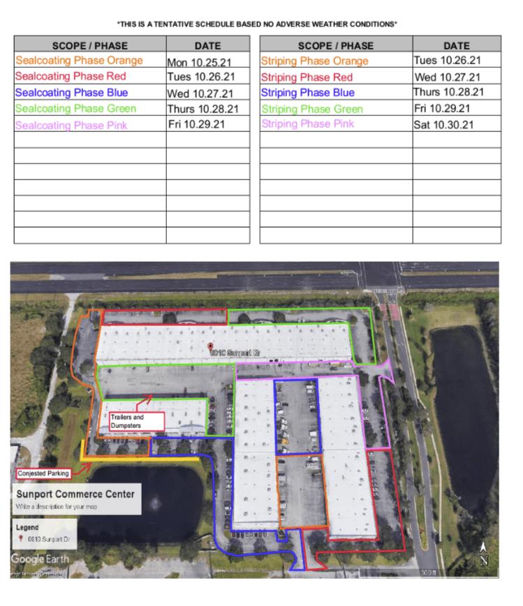Repainting Contract Tentative Schedule